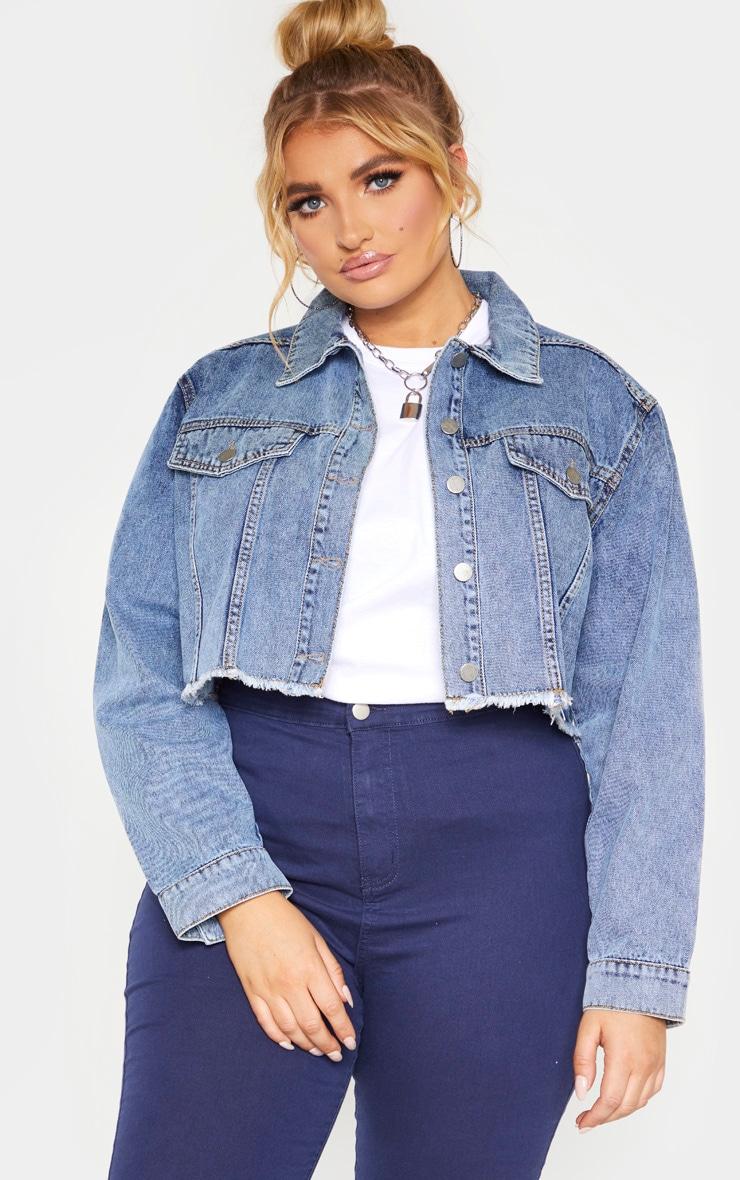 Plus Mid Blue Washed Denim Crop Jacket 5