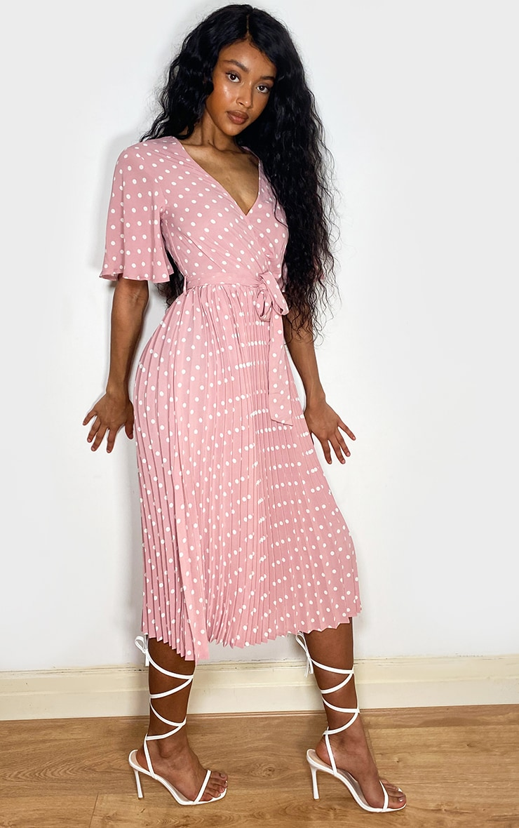 Dusty Pink Polka Dot Pleated Midi Dress 3