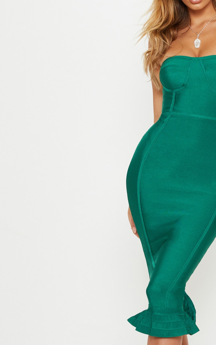 Green Bandage Frill Hem Midi Dress  5