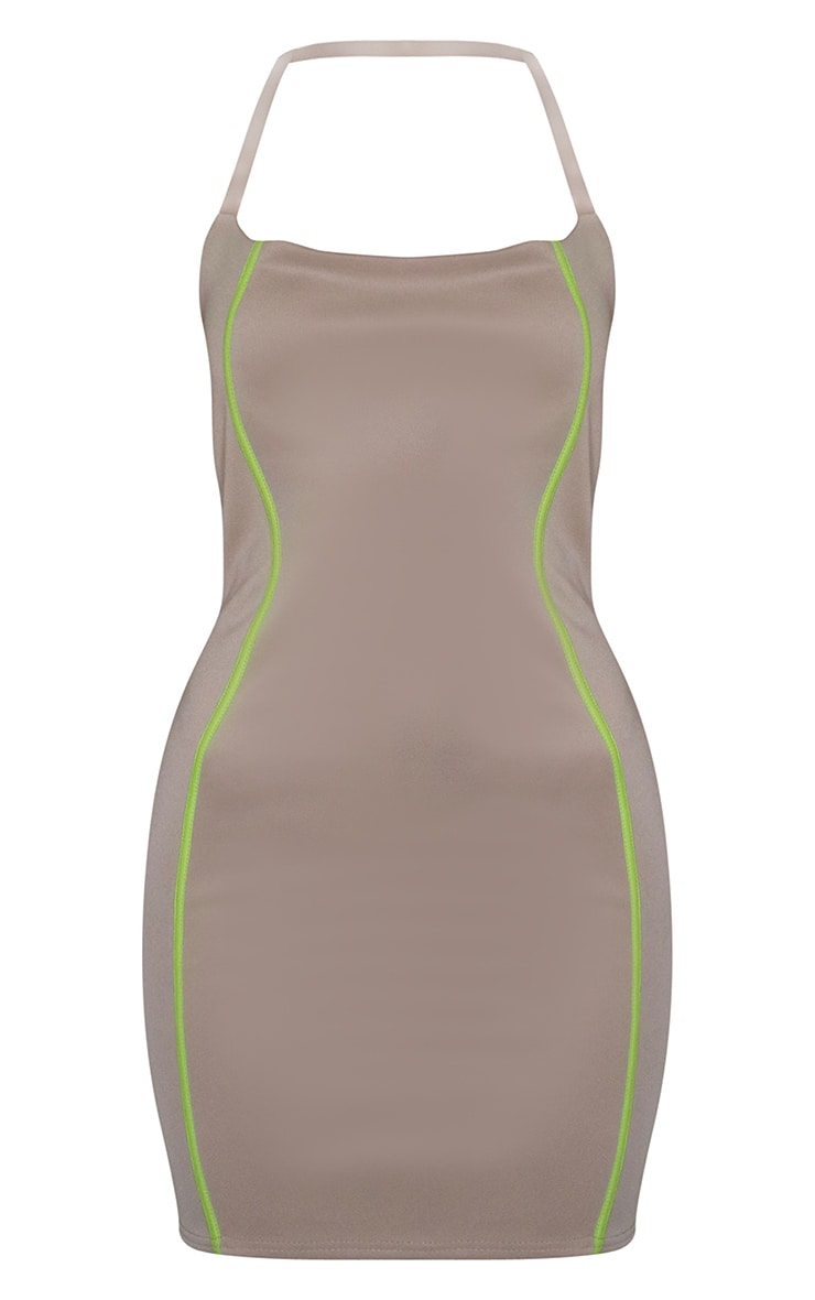 Stone Binded Detail Clear Strap Bodycon Dress 5