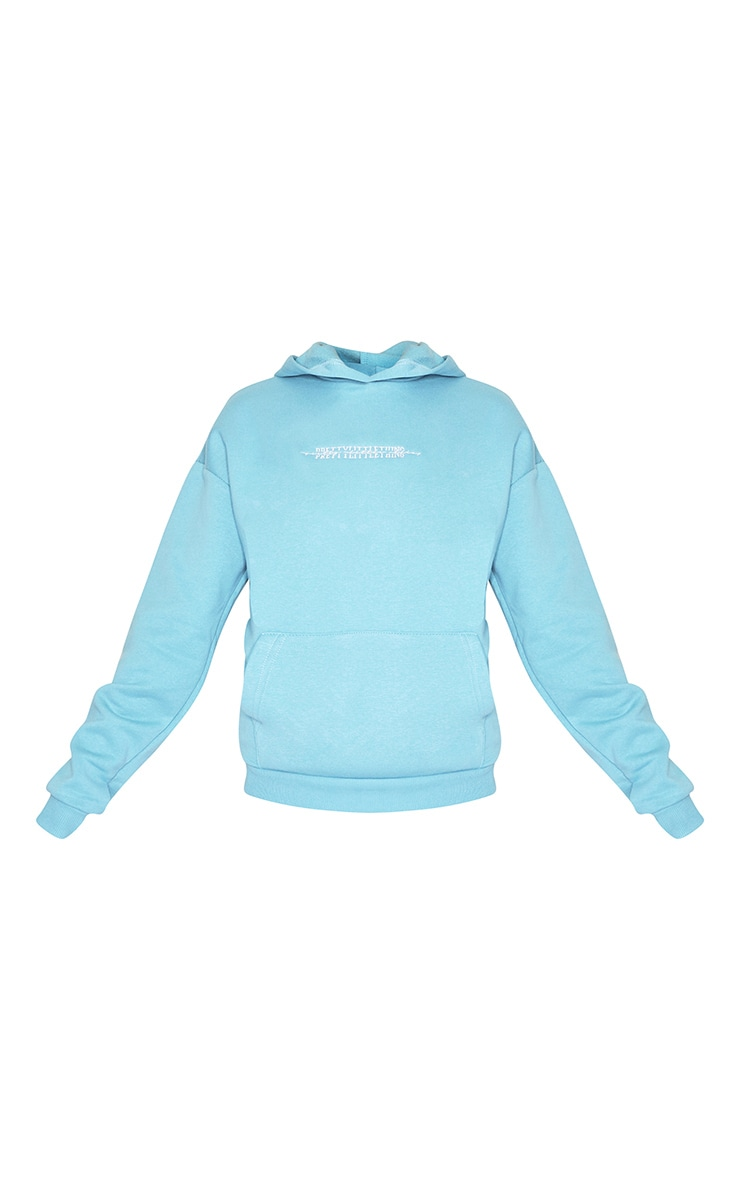 PRETTYLITTLETHING Dusty Turquoise Embroidered Hoodie 5