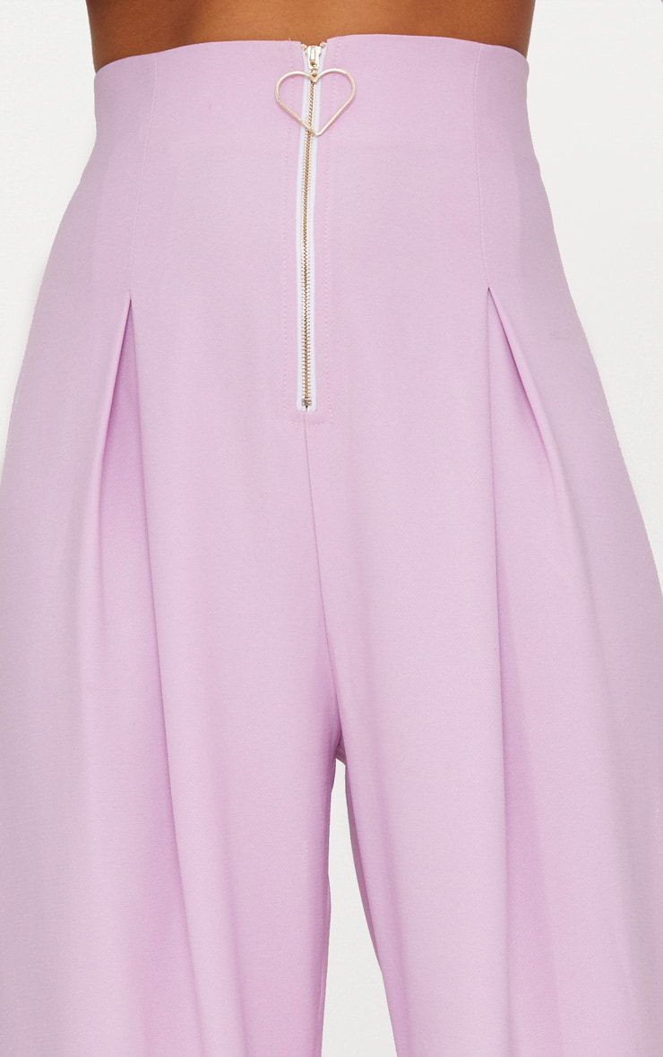 Lilac High Waisted Heart Zip Wide Leg Pants 6
