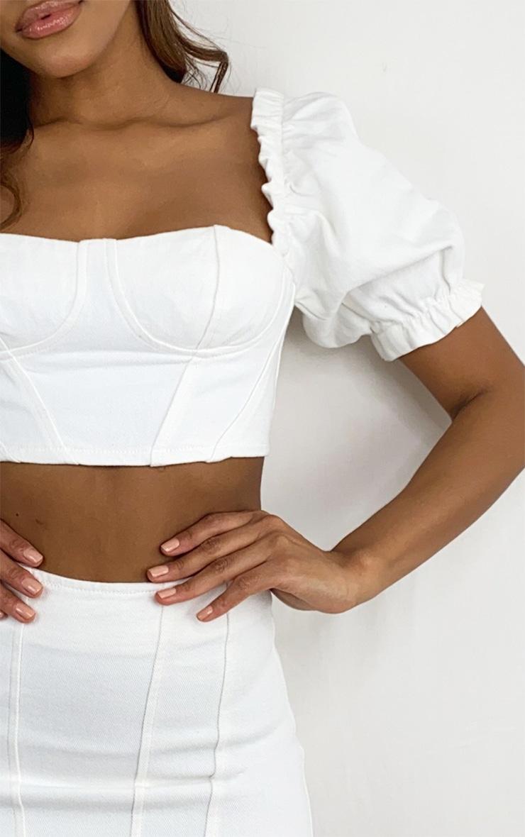 White Sweetheart Seam Detail Ruched Sleeve Denim Crop Top 4