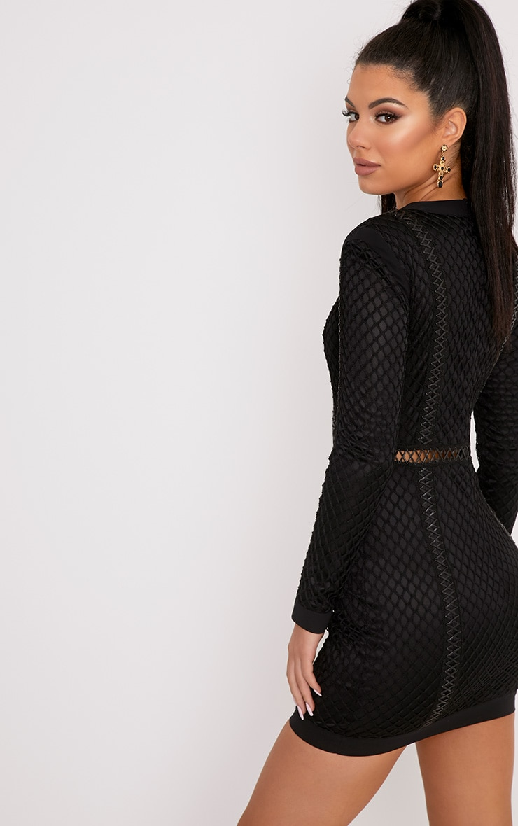 Thea Black Fishnet Panel Bodycon Dress  2