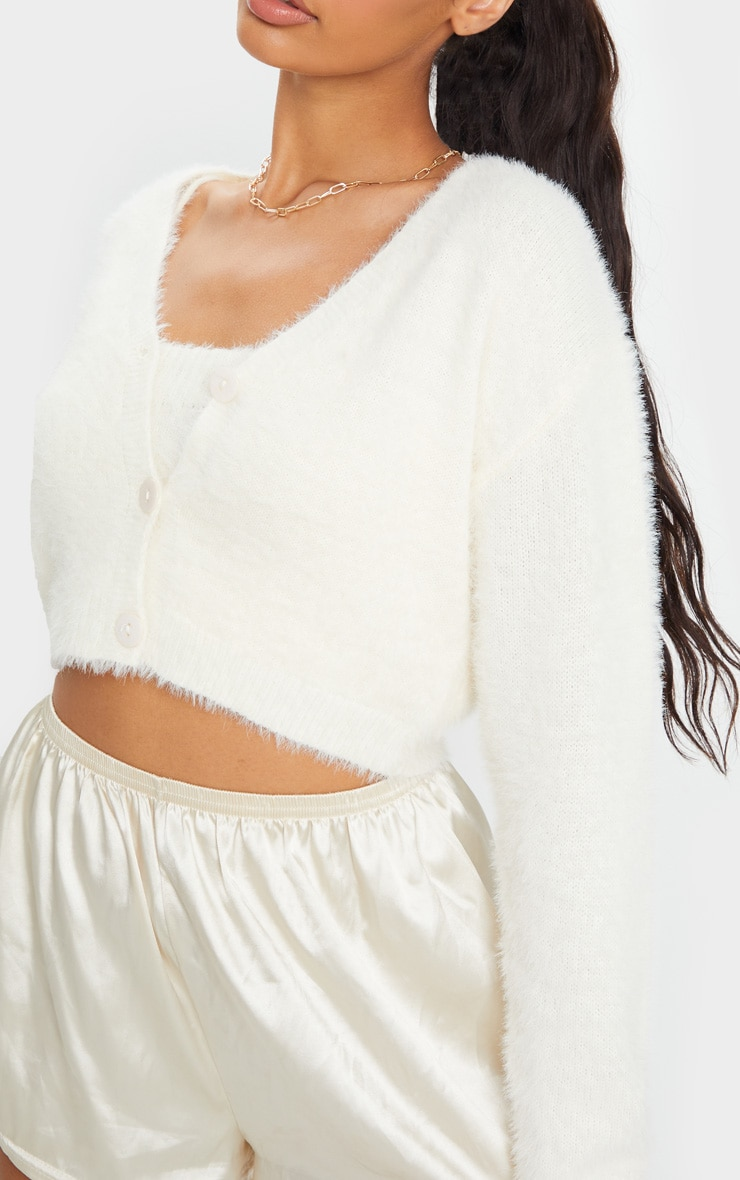 Cream Eyelash Knit Cropped Cardigan 4