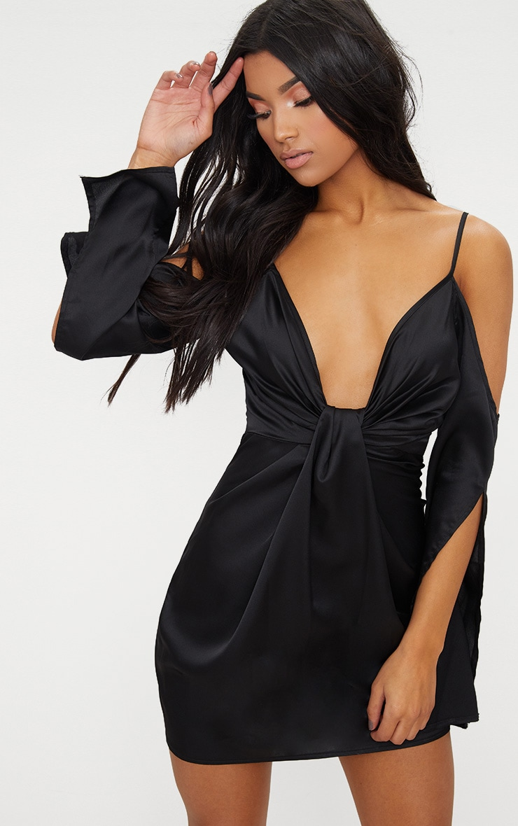 Black Cold Shoulder Satin Knot Front Bodycon Dress 1