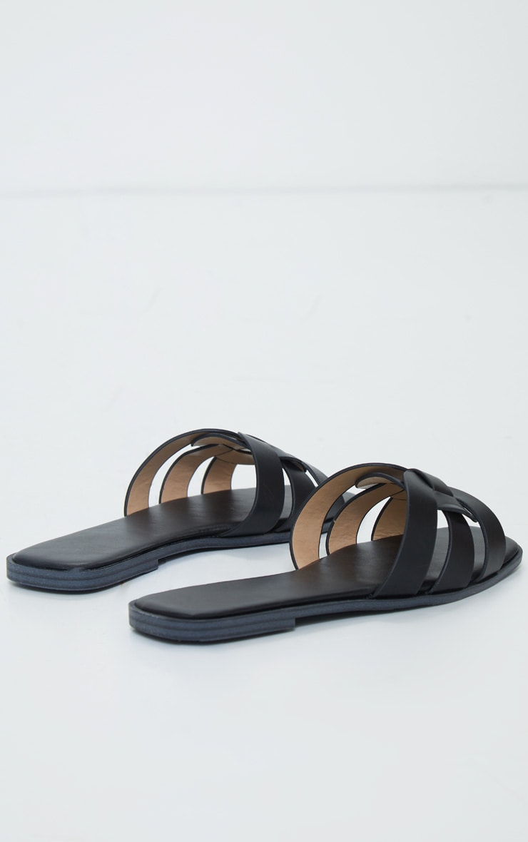 Black Cross Over Strap Mule Flat Sandals 3