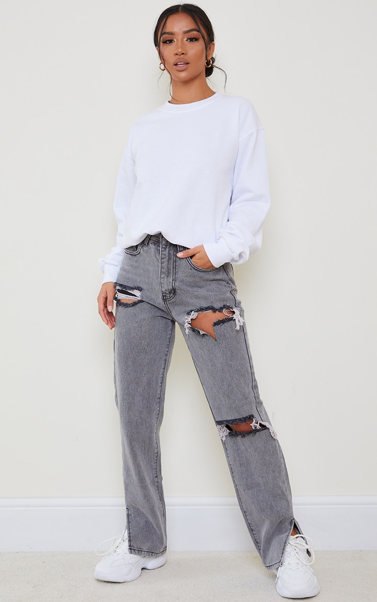 Petite Grey Distressed Split Hem Jeans 1