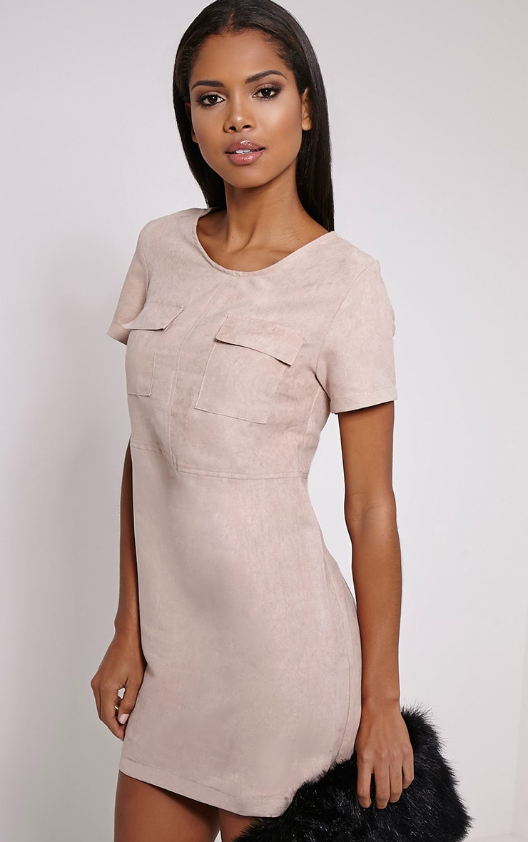 Shiloh Beige Faux Suede Oversized Shift Dress 1