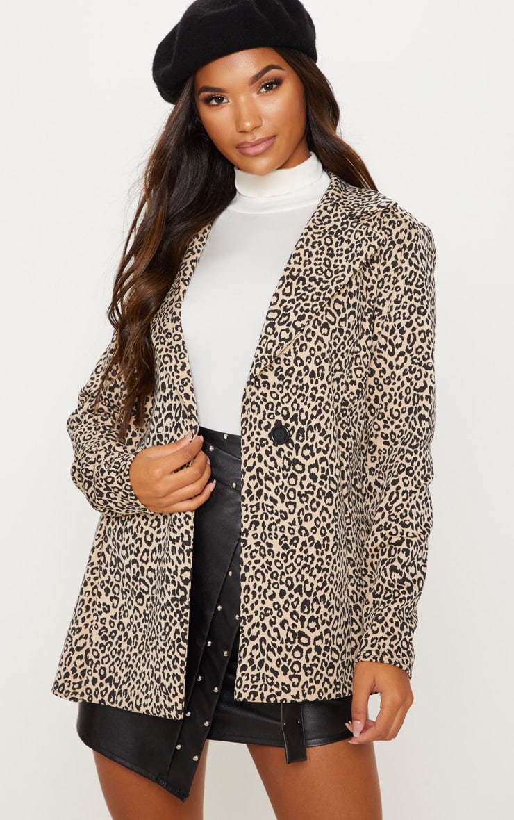 Brown Leopard Boyfriend Blazer