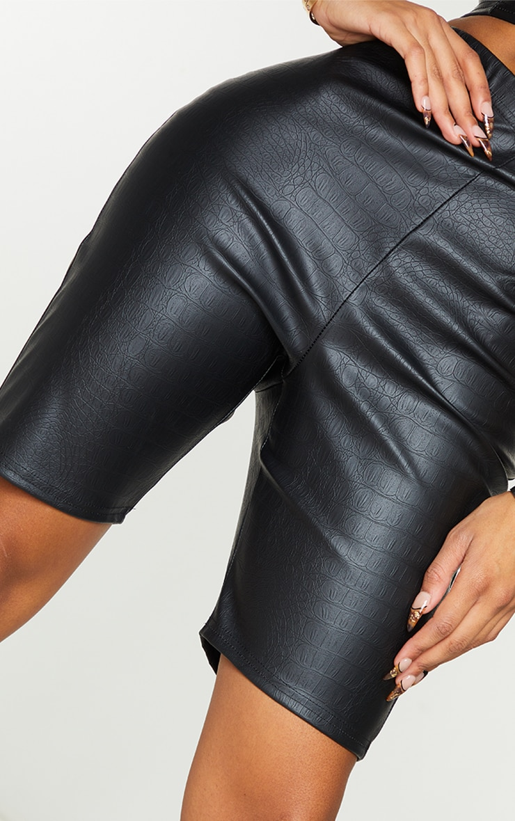 Shape Black Croc Embossed PU Bike Shorts 5