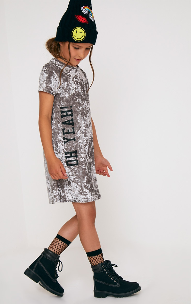 Grey Velvet T Shirt Dress 1