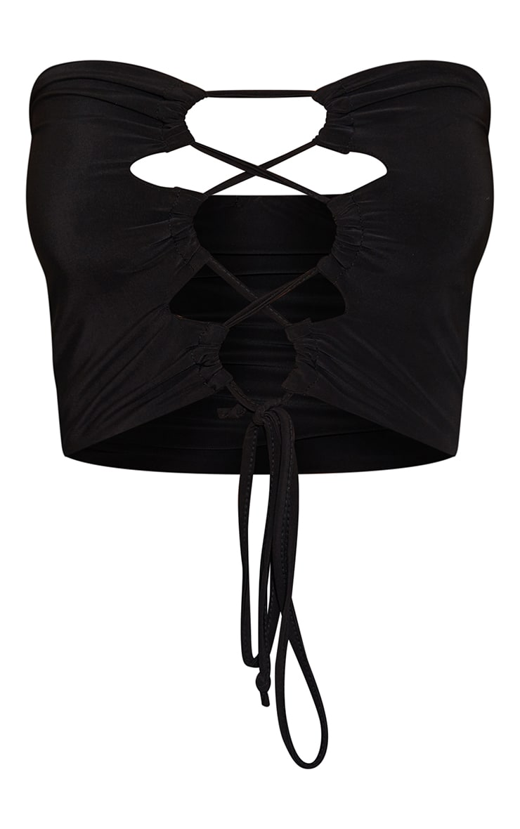 Black Slinky Lace Up Ruched Bandeau Crop Top 5