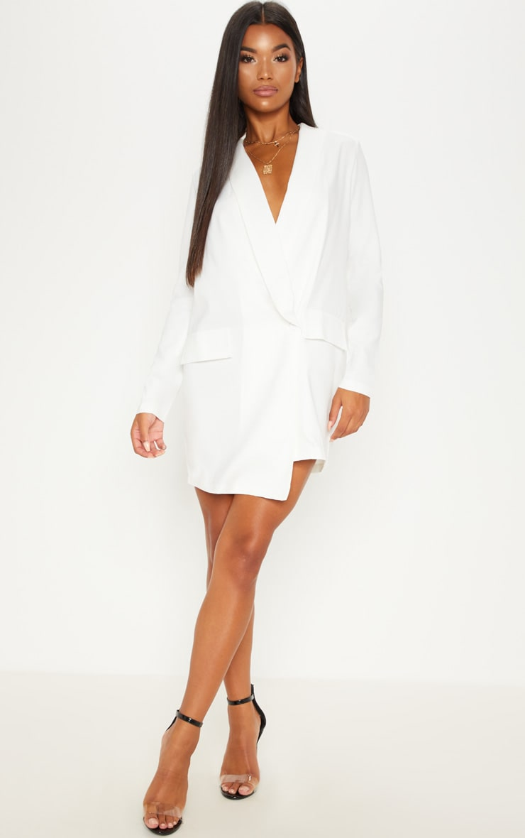 White Asymmetric Hem Oversized Blazer Dress 1