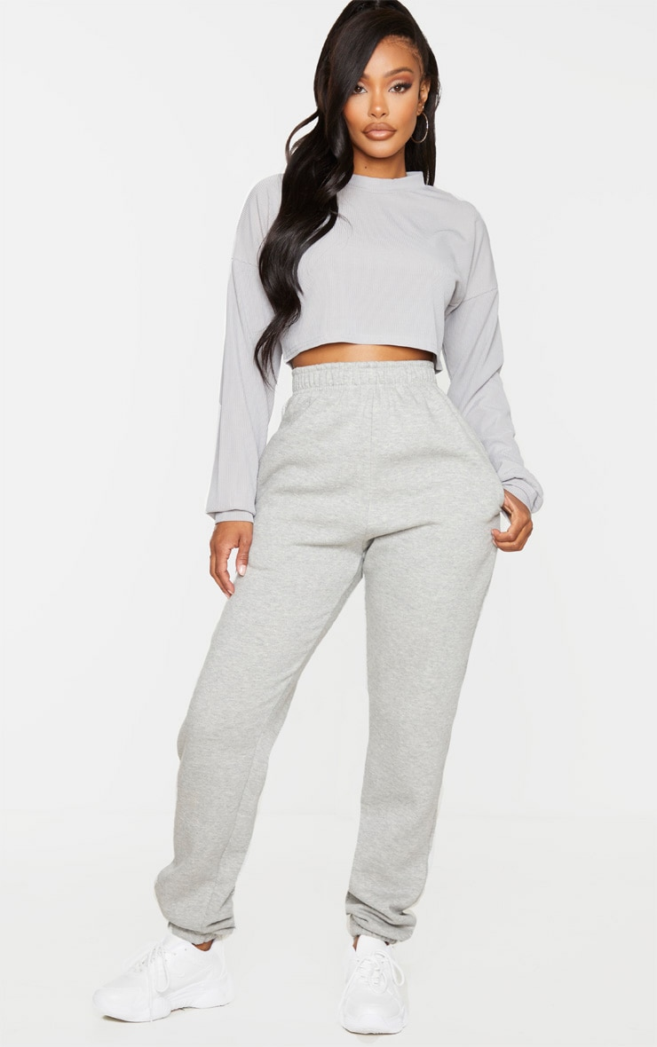 Shape Grey Marl Ribbed Long Sleeve Extreme Crop Top 3