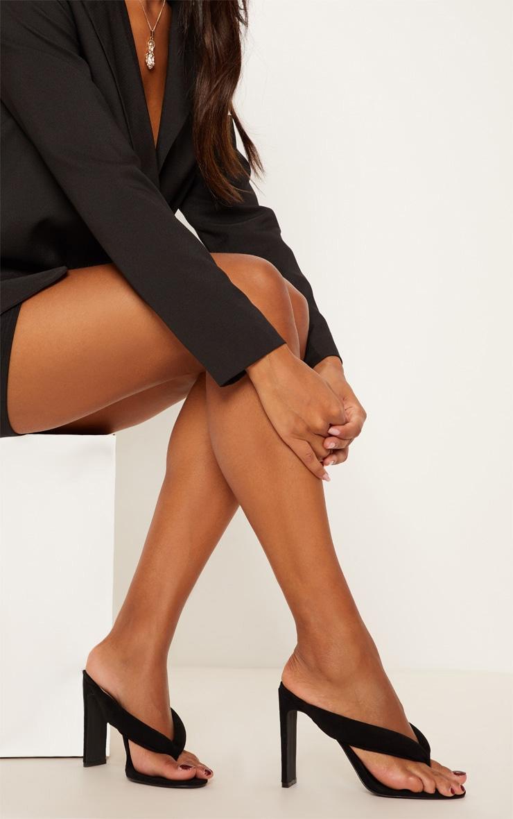 Black Flat Heel Thong Sandal 2