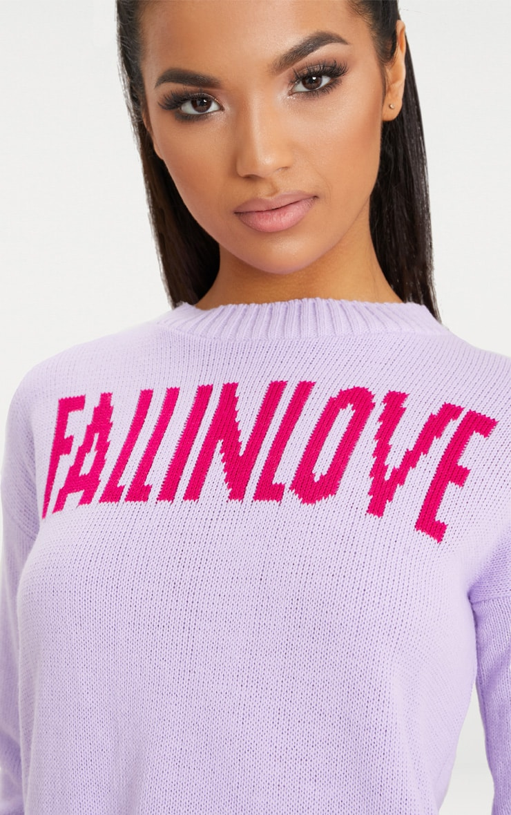 Lilac Fall In Love Slogan Knitted Jumper 5