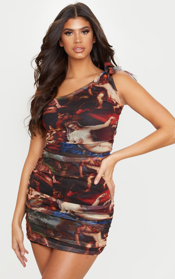 Multi Mesh Renaissance Print One Shoulder Bodycon Dress 1