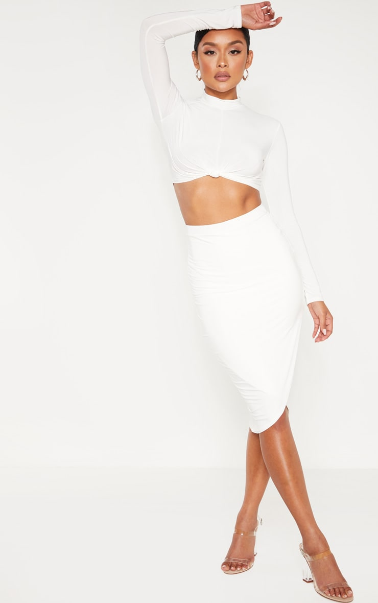 Cream Slinky Wrap Detail Midi Skirt 1