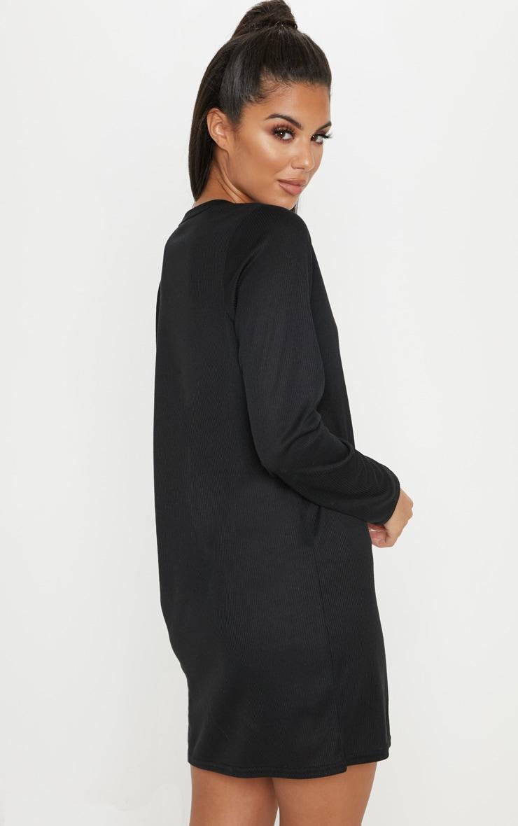 Black V Neck Ribbed Long Sleeve T Shirt Dress 2