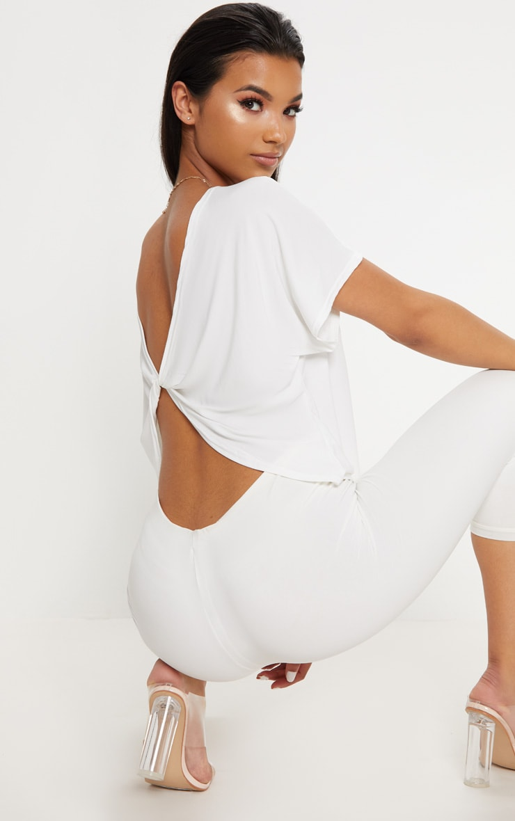 Cream Slinky Knot Back Batwing Crop Top 1