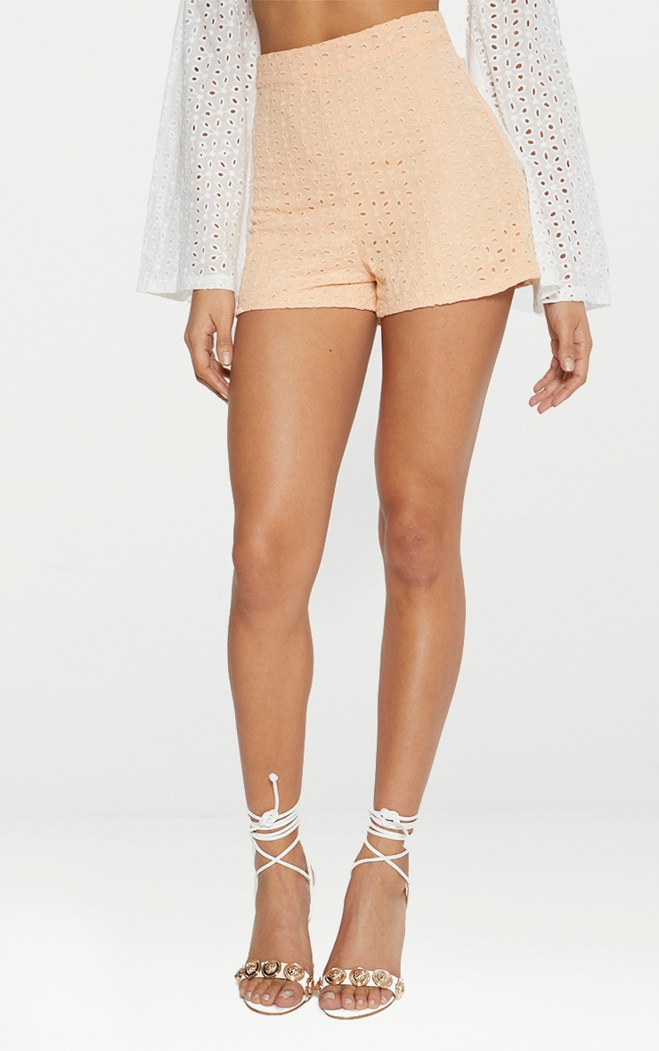 Peach Broderie Anglaise Shorts 2