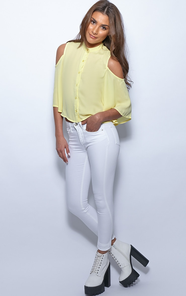 Laurie Yellow Chiffon Cut Out Cropped Shirt 3