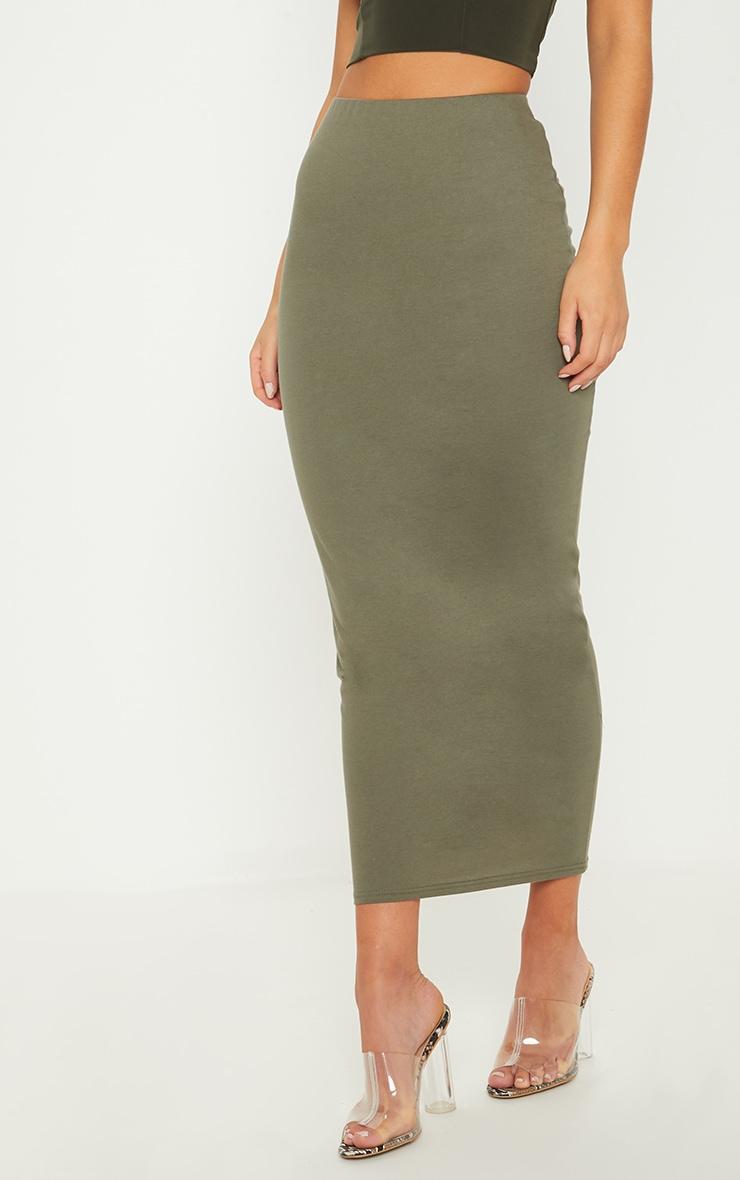 Deep Khaki Jersey Midaxi Skirt  2