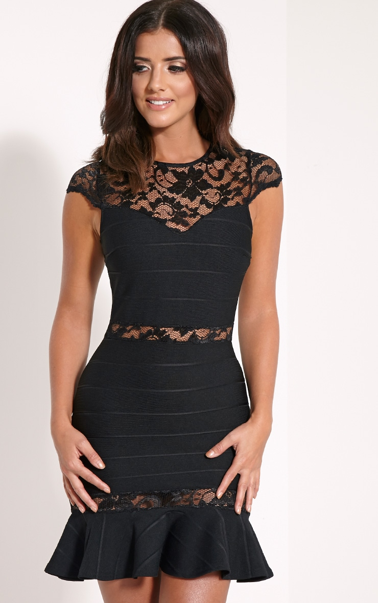 Chiari Black Lace Insert Peplum Mini Dress 1