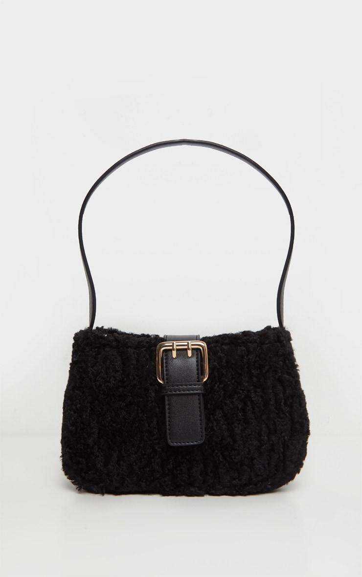 Black Teddy Fur Buckle Shoulder Bag 2