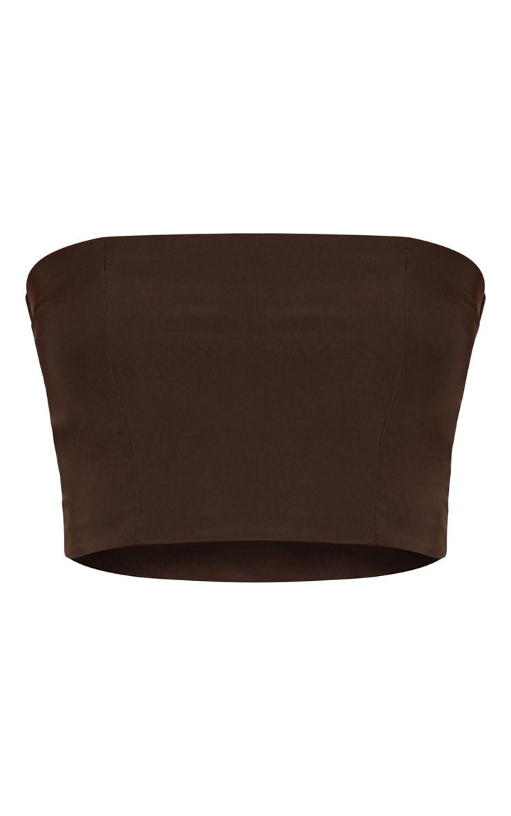 Helsa Chocolate Slinky Bandeau Crop Top 3