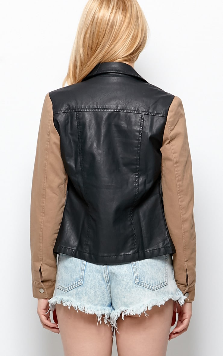 Joslyn Black Leather Jacket With Beige Sleeve Detail-S 2