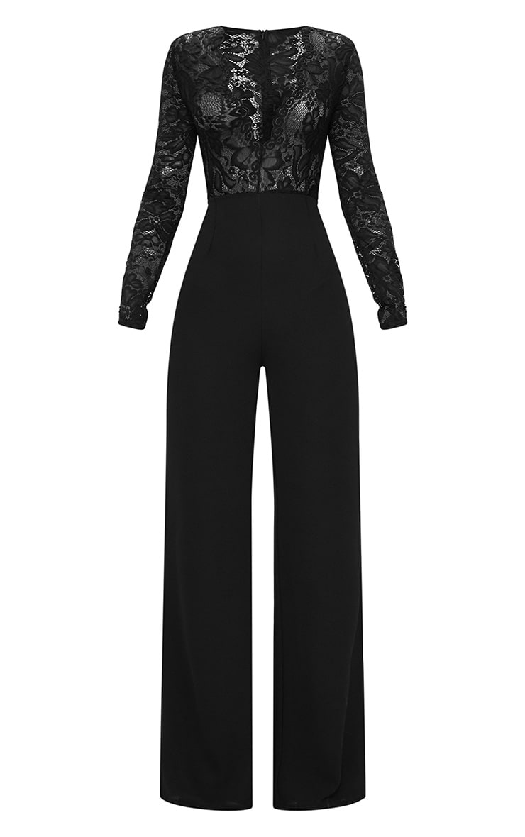 Black Lace Long Sleeve Plunge Jumpsuit 3