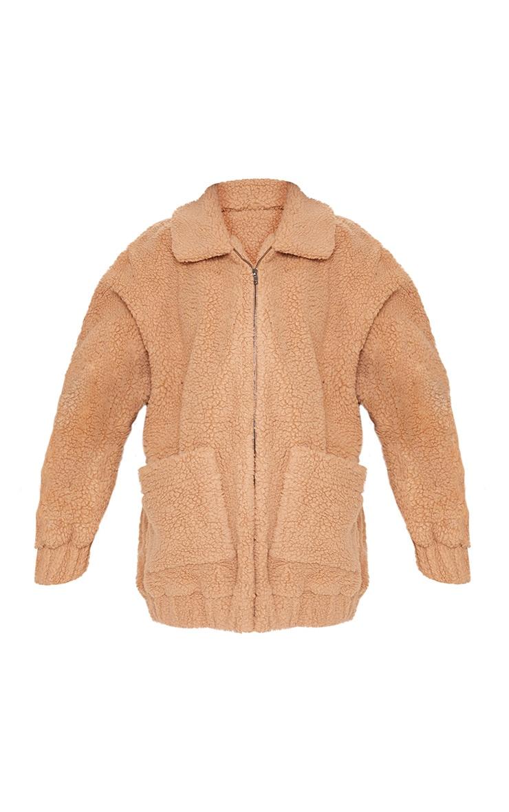 Camel Borg Pocket Front Coat  3
