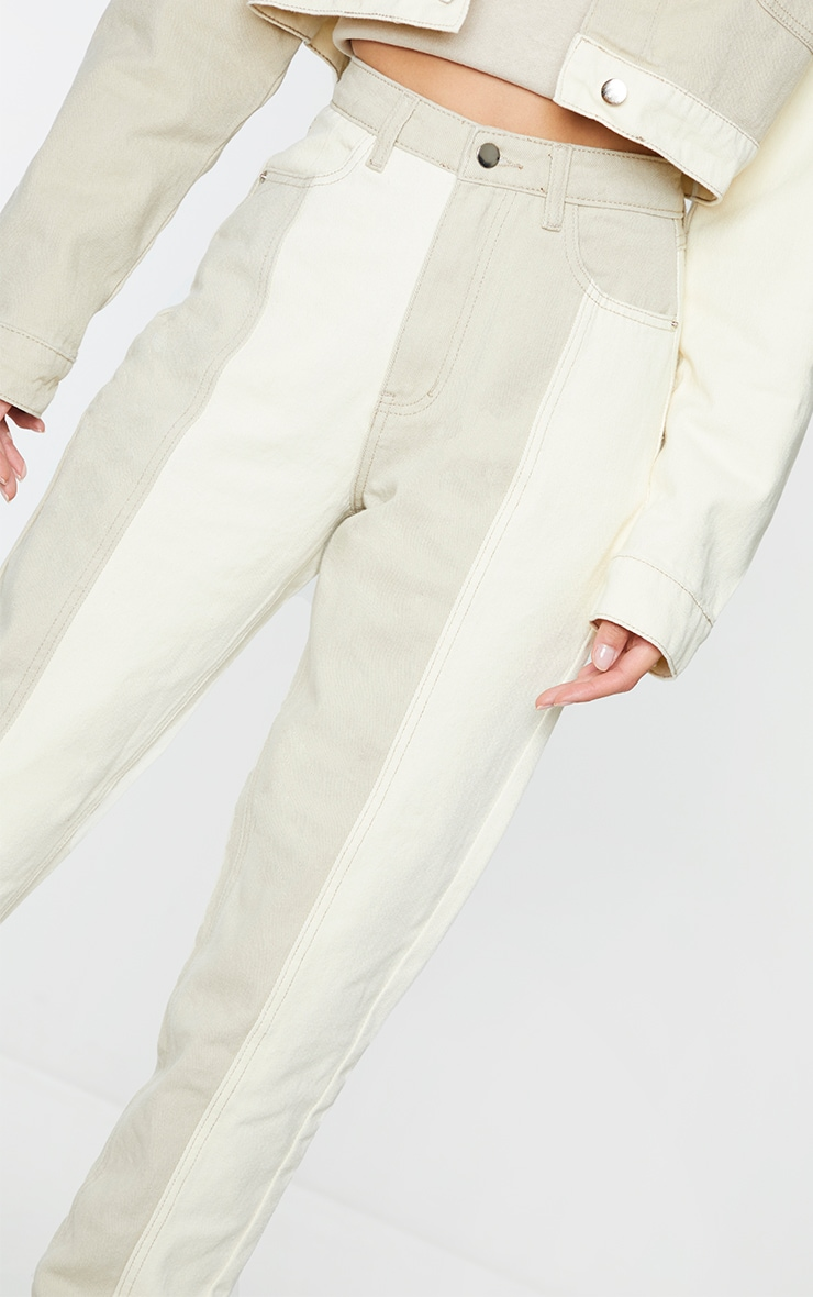 Cream Two Tone Contrast Mom Jeans 4
