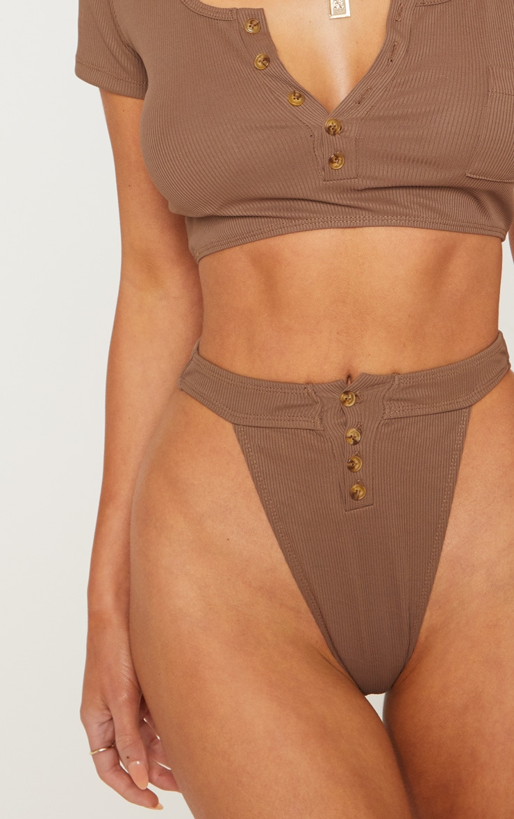 Bas de maillot de bain côtelé marron chocolat à boutons 6