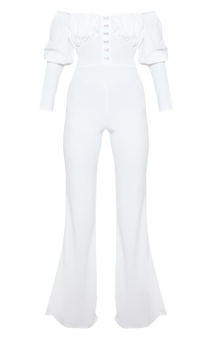 White Ruched Flare Leg Bardot Jumpsuit 4