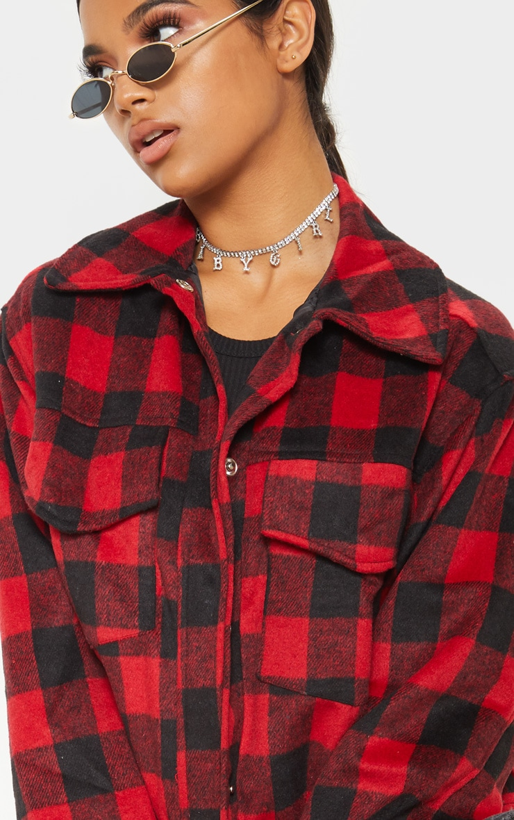Red Check Print Trucker 5