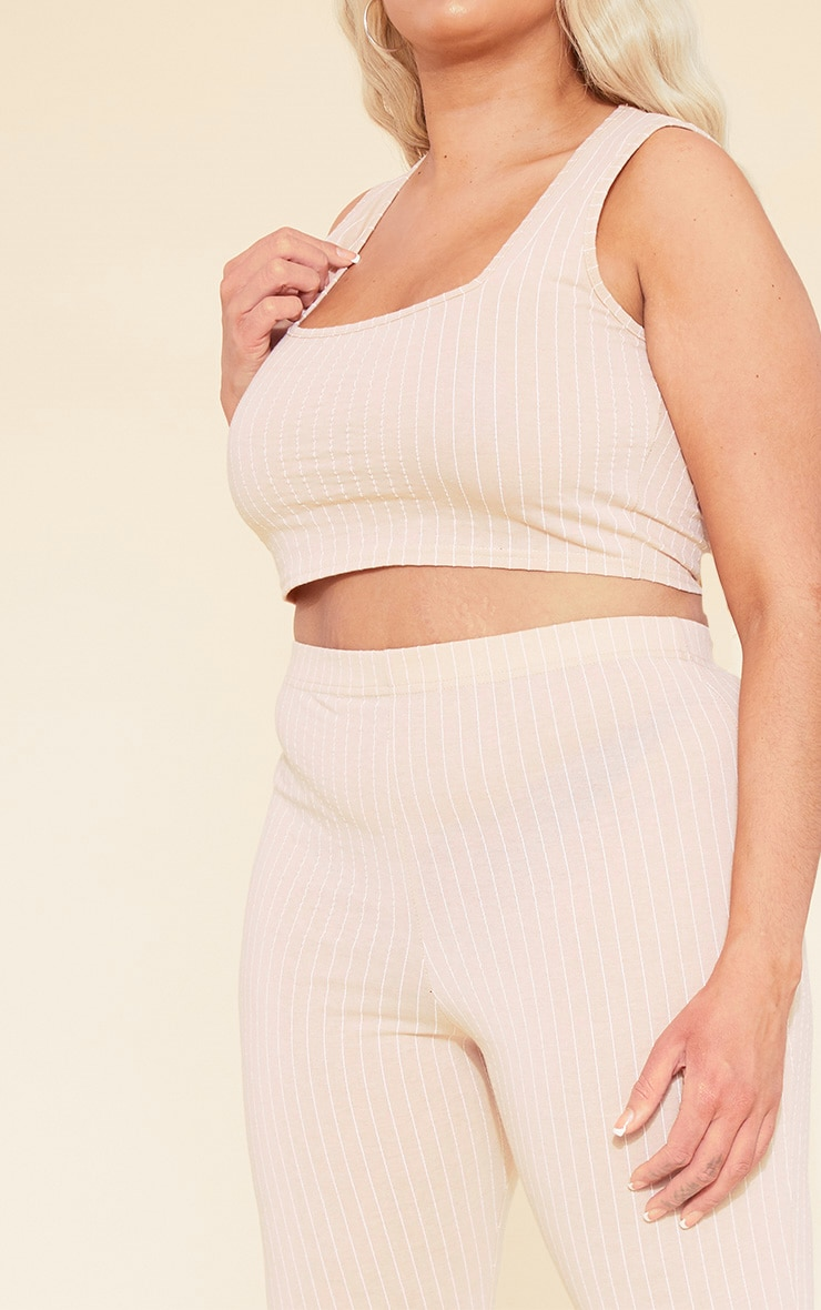 RECYCLED Plus Deep Nude Pinstripe Square Neck Crop Top 6