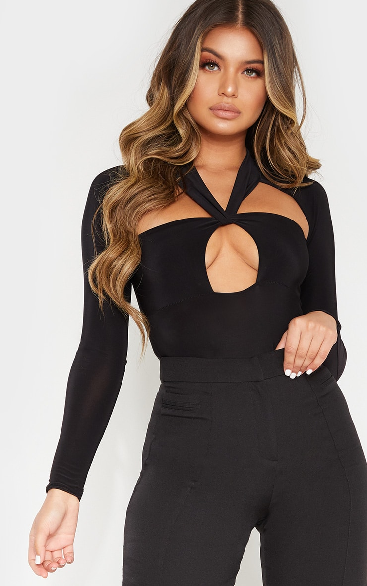 Black Twist Cut Out Long Sleeve Bodysuit 1