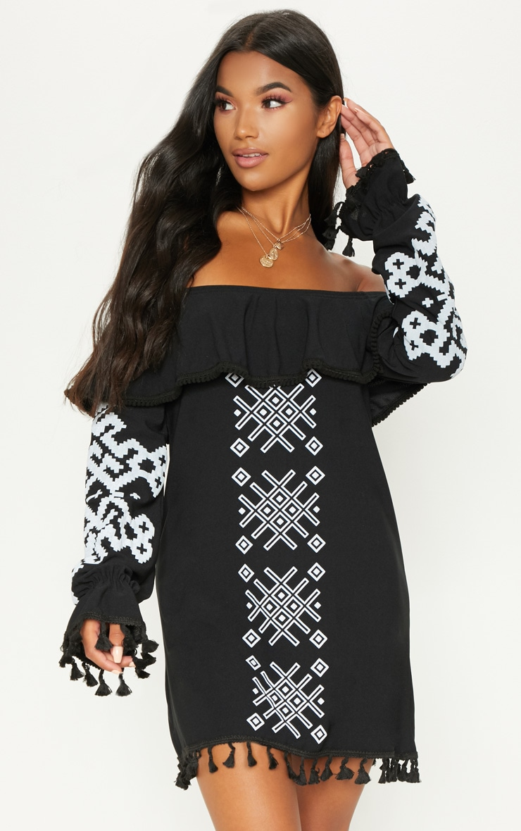 Black Bardot Tassel Detail Printed Shift Dress