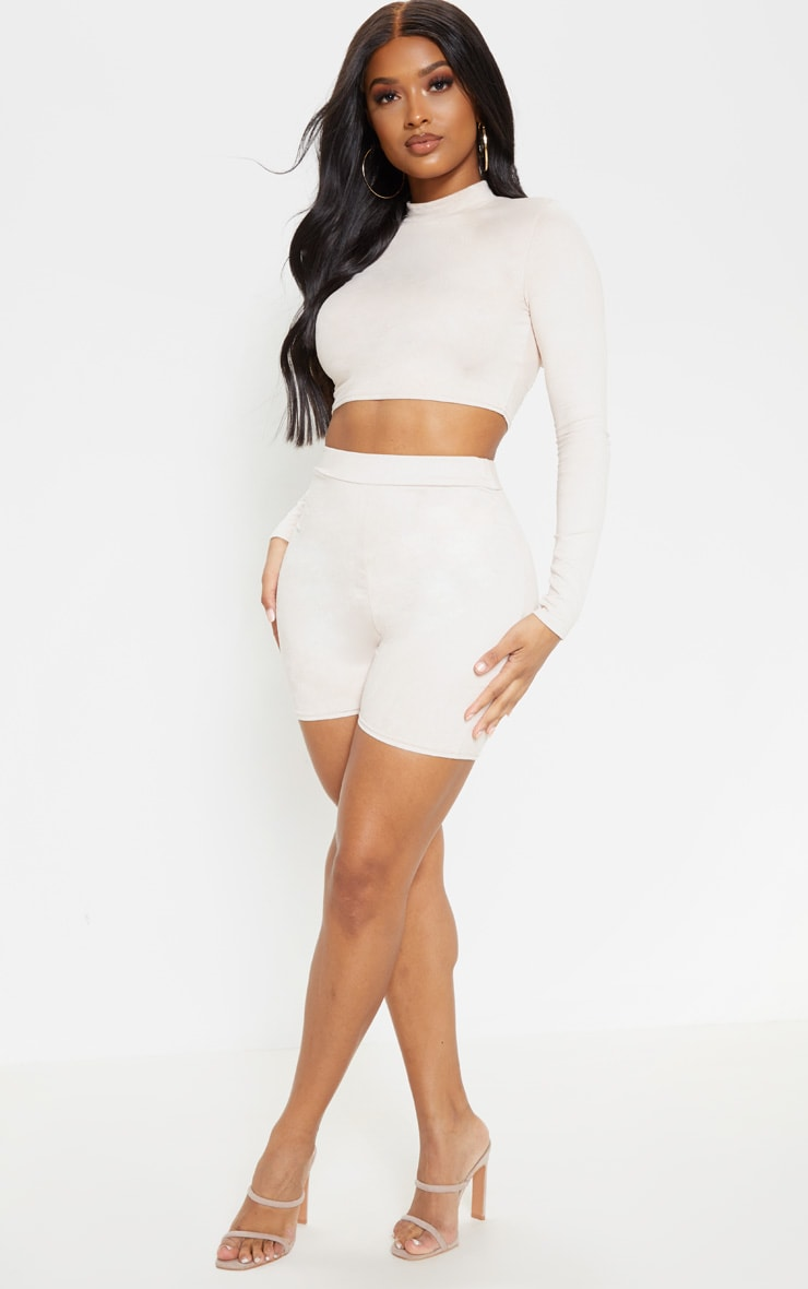 Shape Nude Faux Suede High Neck Crop Top 5