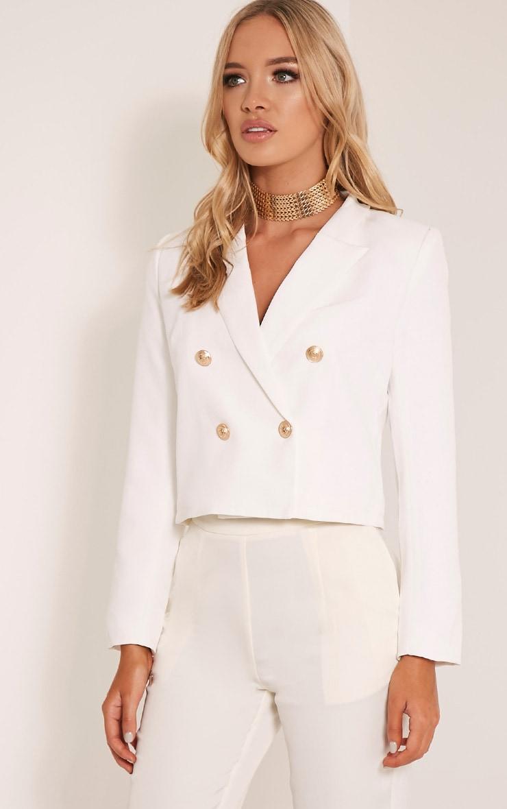 Dionne Cream Cropped Military Style Blazer 4