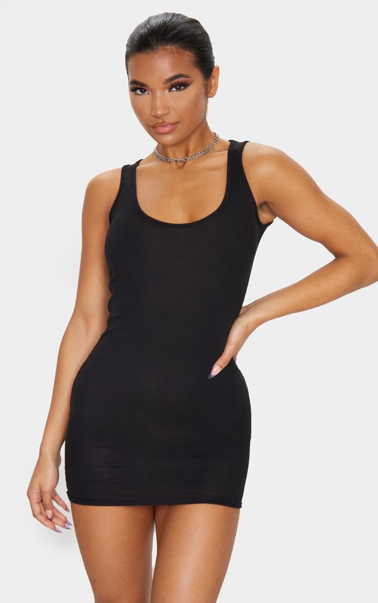 Basic Black Cotton Blend Ribbed Scoop Neck Bodycon Dress 1