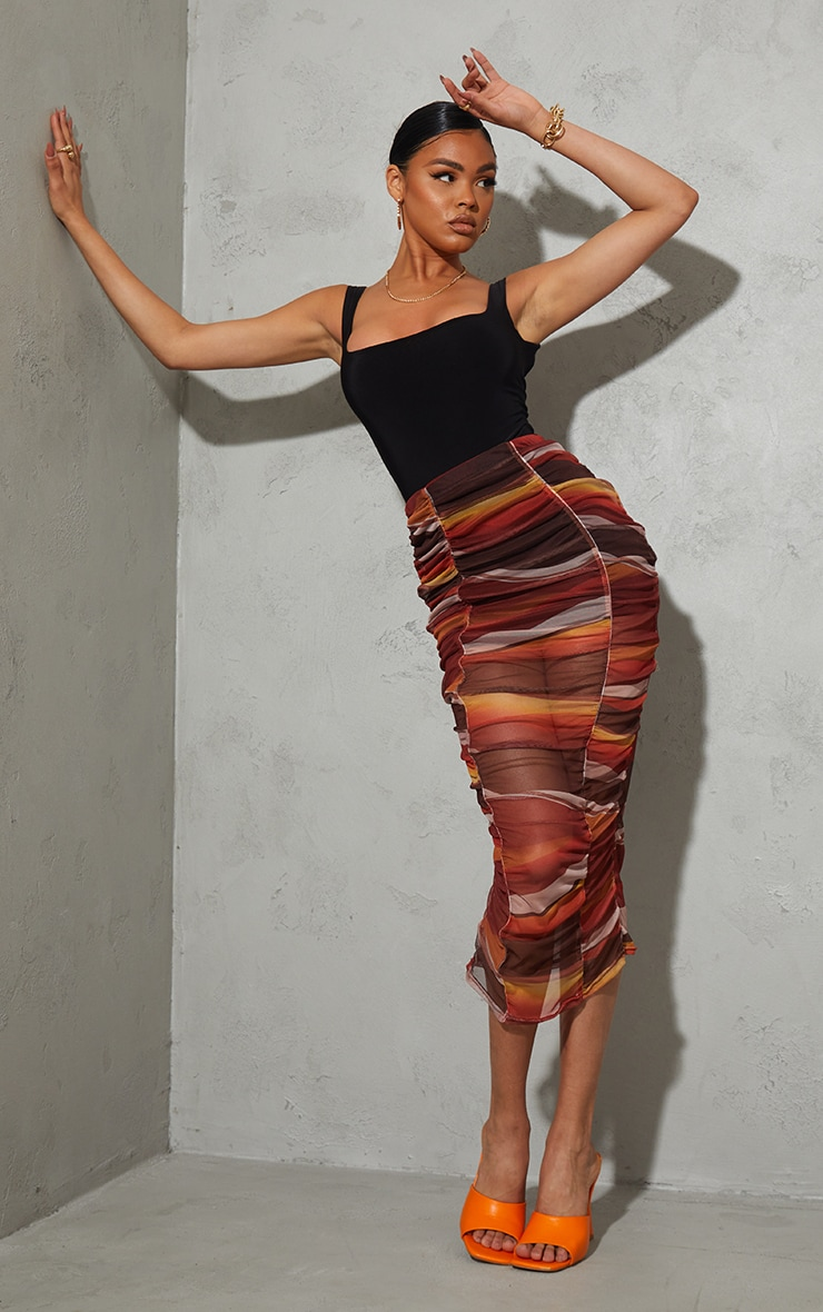 Orange Ombre Stripe Print Mesh Ruched Overlay Maxi Skirt 1