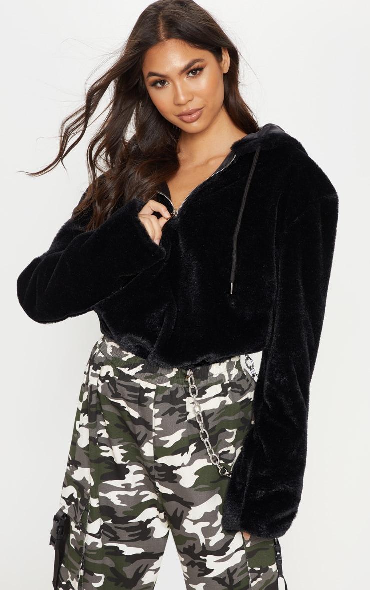 Black Faux Fur Hoodie 1