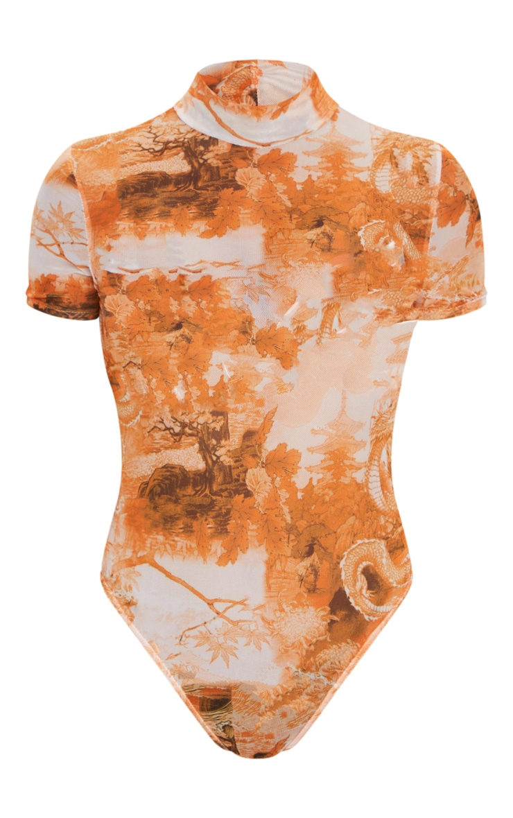 Orange Chinese Dragon Printed Mesh High Neck Short Sleeve Bodysuit 5