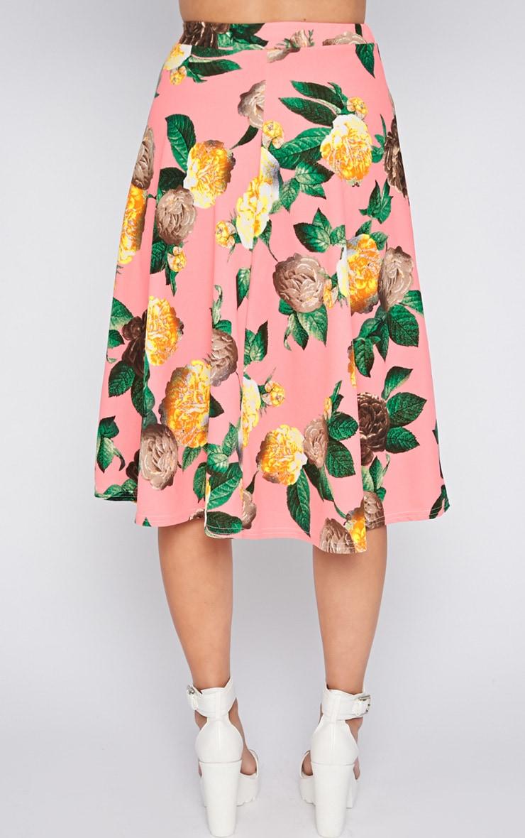 Kiera Pink Floral Print Midi Skirt 2