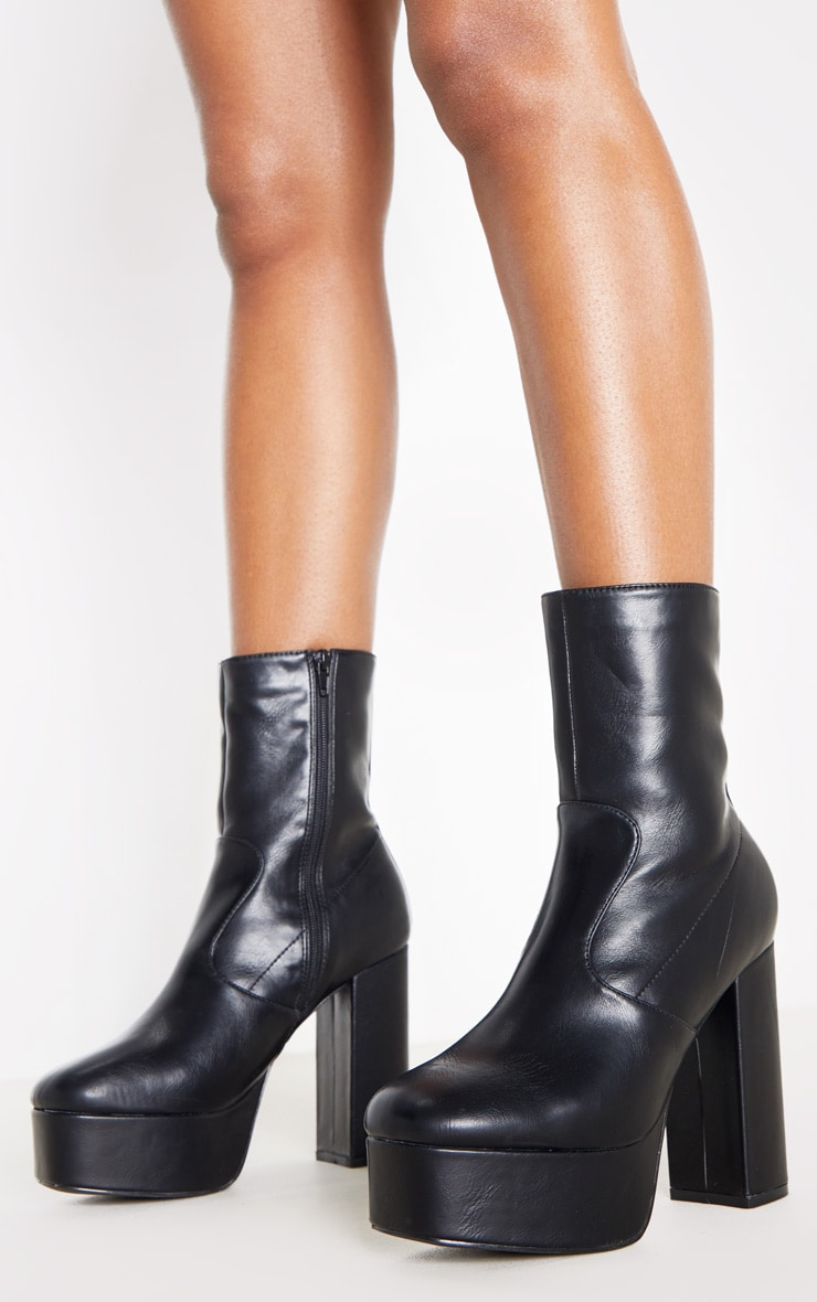 Black High Platform Ankle Boots 2