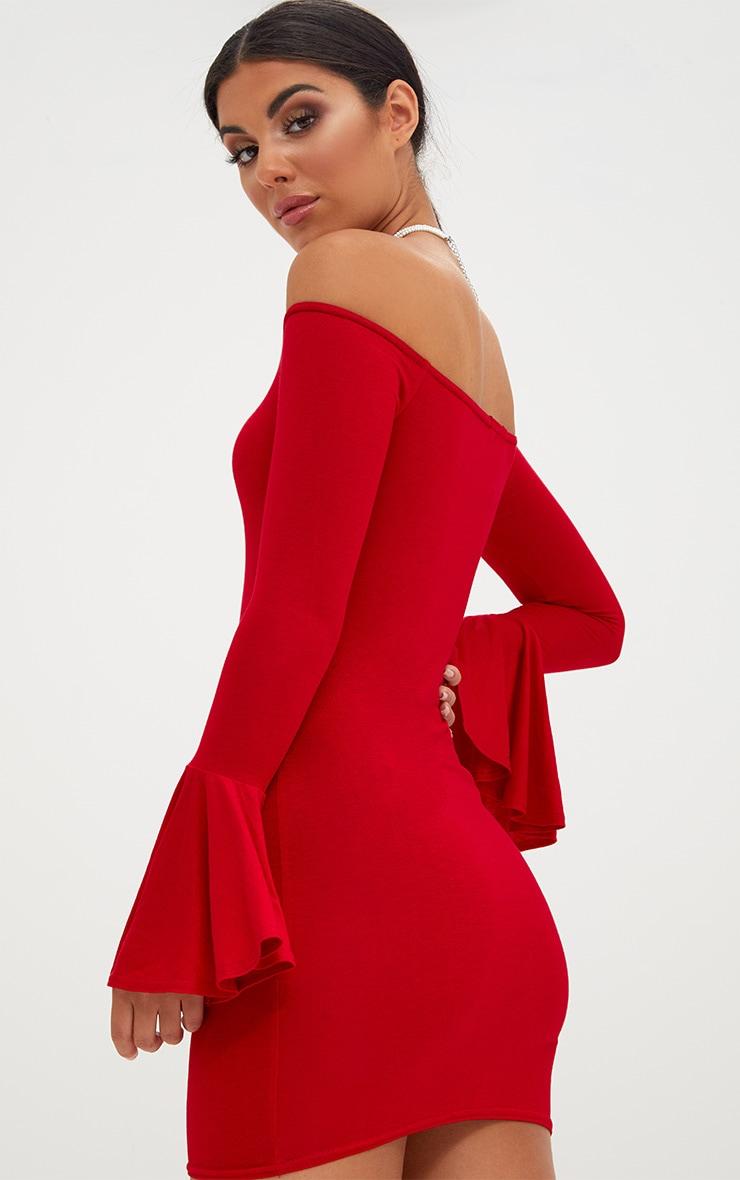 Red Frill Sleeve Bardot Bodycon Dress 2